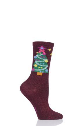 Ladies 1 Pair Burlington Christmas Tree Cotton Socks