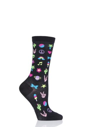 Ladies 1 Pair Burlington Festival Fun Cotton Socks