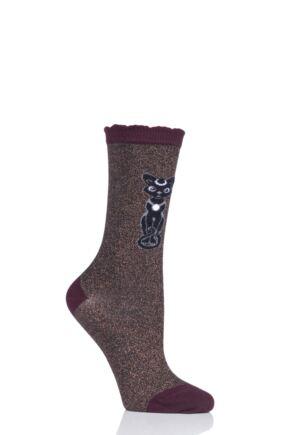 Ladies 1 Pair Burlington Luna Cat Socks