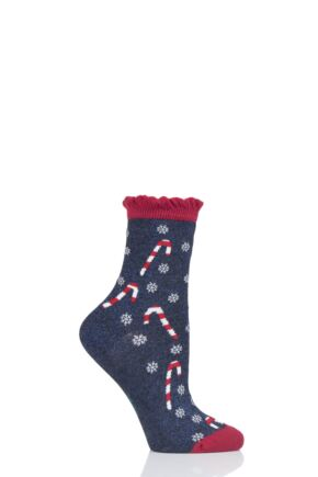Ladies 1 Pair Burlington Candyman Candy Cane Cotton Socks