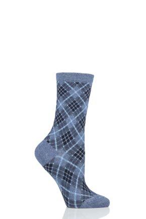 Ladies 1 Pair Burlington Ladywell Rhomb Argyle Shiny Socks
