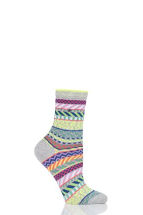 Ladies 1 Pair Burlington Summer Fair Isle Cotton Socks Green 3.5-7 Ladies