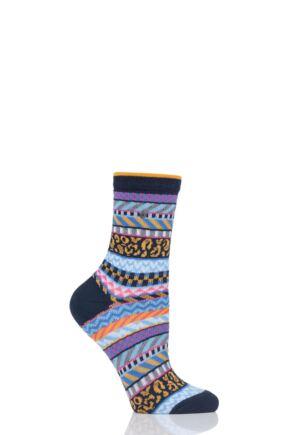 Ladies 1 Pair Burlington Summer Fair Isle Cotton Socks