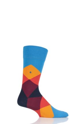 Mens 1 Pair Burlington Clyde Cotton All Over Blend Argyle Socks Blue Multi 40-46