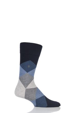 Mens 1 Pair Burlington Clyde Cotton All Over Blend Argyle Socks Navy Mix 40-46