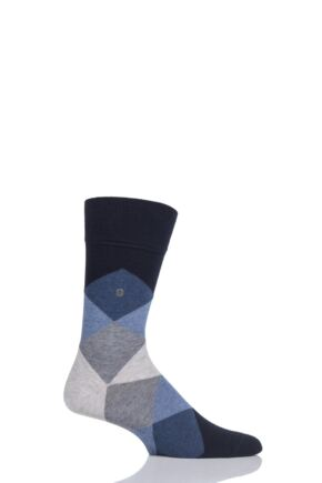 Mens 1 Pair Burlington Clyde Cotton All Over Blend Argyle Socks