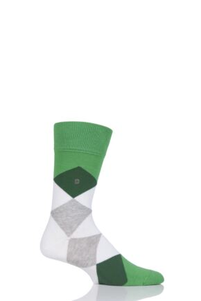 Mens 1 Pair Burlington Clyde Cotton All Over Blend Argyle Socks Green Mix 40-46