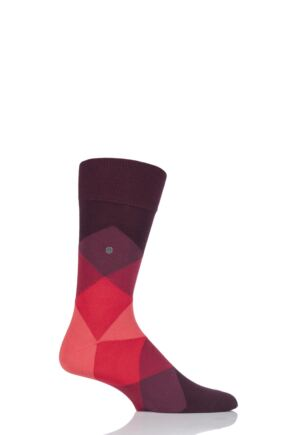 Mens 1 Pair Burlington Clyde Cotton All Over Blend Argyle Socks Burgundy / Red 40-46