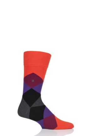Mens 1 Pair Burlington Clyde Cotton All Over Blend Argyle Socks Orange Mix 6.5-11 Mens