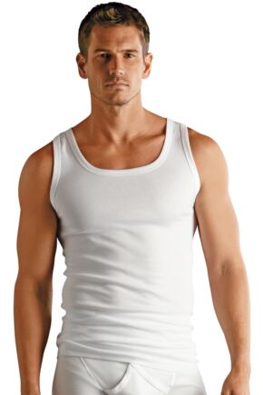 Mens 3 Pair Jockey Classic 100% Cotton White Vests White M