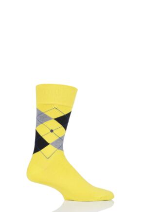 Mens 1 Pair Burlington King Argyle Cotton Socks