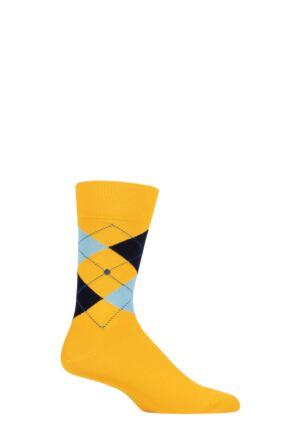 Mens 1 Pair Burlington King Argyle Cotton Socks Yellow / Blue 6.5-11 Mens