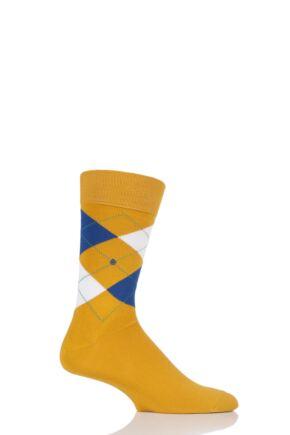 Mens 1 Pair Burlington King Argyle Cotton Socks Mustard 40-46