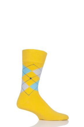 Mens 1 Pair Burlington King Argyle Cotton Socks Yellow 40-46