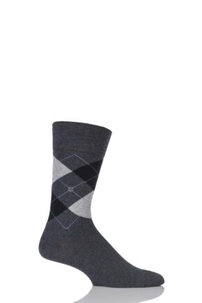 Mens 1 Pair Burlington King Argyle Cotton Socks Charcoal 40-46