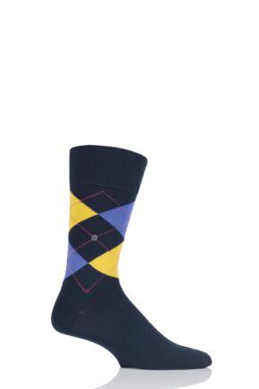 Mens 1 Pair Burlington King Argyle Cotton Socks Navy / Purple / Yellow 40-46