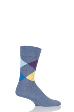 Mens 1 Pair Burlington King 4 Way Argyle Cotton Socks Denim Multi 40-46