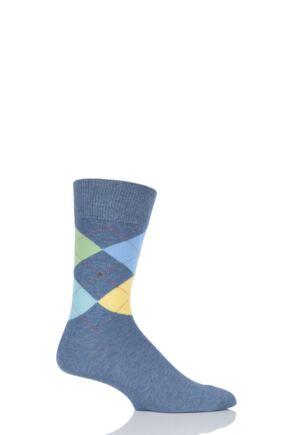 Mens 1 Pair Burlington King 4 Way Argyle Cotton Socks Denim 40-46