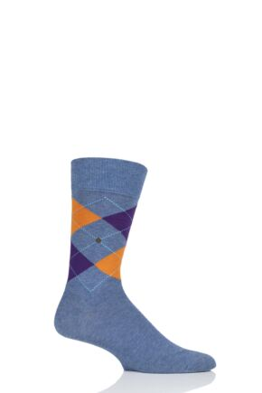 Mens 1 Pair Burlington King Argyle Cotton Socks