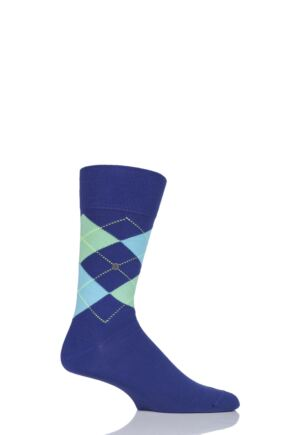 Mens 1 Pair Burlington King Argyle Cotton Socks Purple (2) 40-46