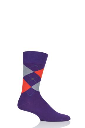 Mens 1 Pair Burlington King Argyle Cotton Socks Purple 6.5-11 Mens