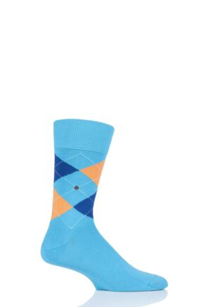 Mens 1 Pair Burlington King Argyle Cotton Socks Teal 2 40-46