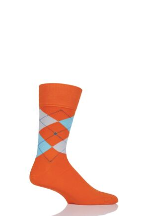 Mens 1 Pair Burlington King Argyle Cotton Socks Orange (2) 40-46