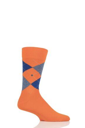 Mens 1 Pair Burlington King Argyle Cotton Socks Orange / Blue 6.5-11 Mens