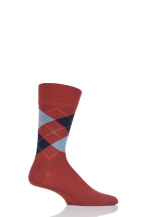 Mens 1 Pair Burlington King Argyle Cotton Socks Rust / Blue 40-46