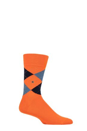 Mens 1 Pair Burlington King Argyle Cotton Socks Orange / Grey 6.5-11 Mens