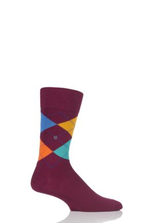 Mens 1 Pair Burlington King 4 Way Argyle Cotton Socks Burgundy Multi 40-46