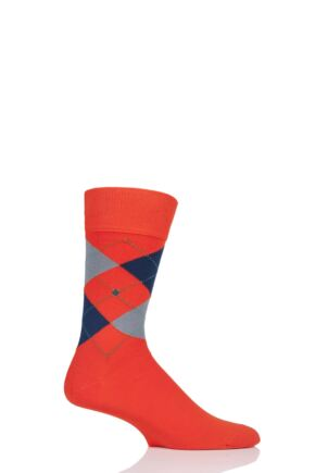 Mens 1 Pair Burlington King Argyle Cotton Socks Orange 6.5-11 Mens