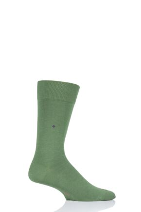 Mens 1 Pair Burlington Lord Plain Cotton Socks Green (2) 40-46