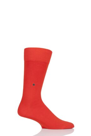 Mens 1 Pair Burlington Lord Plain Cotton Socks Orange 6.5-11 Mens