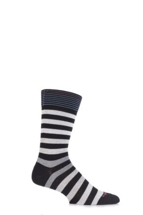 Mens 1 Pair Burlington Blackpool Multi Striped Cotton Socks