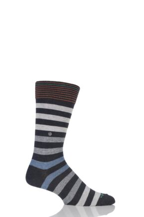 Mens 1 Pair Burlington Blackpool Multi Striped Cotton Socks Grey 40-46