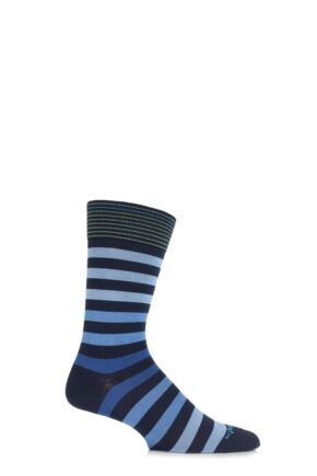 Mens 1 Pair Burlington Blackpool Multi Striped Cotton Socks Marine 40-46