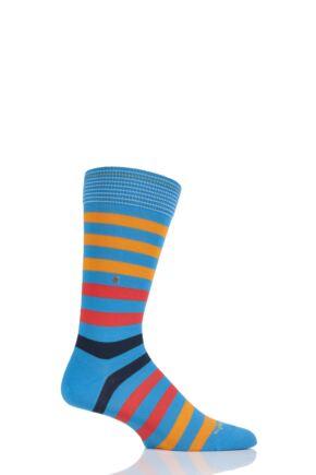 Mens 1 Pair Burlington Blackpool Multi Striped Cotton Socks