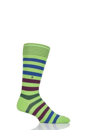 Mens 1 Pair Burlington Blackpool Multi Striped Cotton Socks Greens 40-46