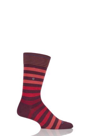 Mens 1 Pair Burlington Blackpool Multi Striped Cotton Socks Red 40-46