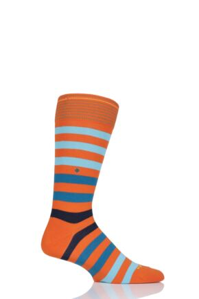 Mens 1 Pair Burlington Blackpool Multi Striped Cotton Socks Orange 40-46