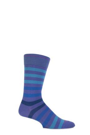 Mens 1 Pair Burlington Blackpool Multi Striped Cotton Socks Lavender 40-46