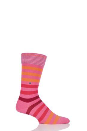 Mens 1 Pair Burlington Blackpool Multi Striped Cotton Socks Pink 40-46