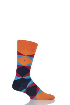 Mens 1 Pair Burlington Cosmopolitan Broken Argyle Cotton Socks Orange 40-46