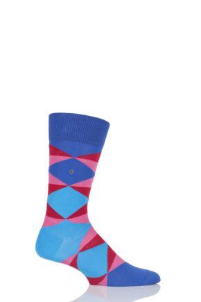 Mens 1 Pair Burlington Cosmopolitan Broken Argyle Cotton Socks Purple 40-46