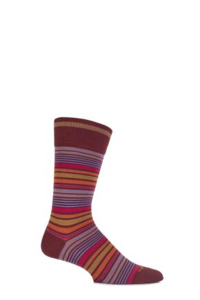 Mens 1 Pair Burlington Bolton Cotton Mixed Striped Socks Brick 40-46
