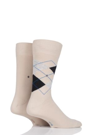 Mens 2 Pair Burlington Everyday Plain and Argyle Cotton Socks