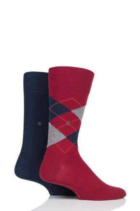 Mens 2 Pair Burlington Everyday Plain and Argyle Cotton Socks Red 6.5-11 Mens
