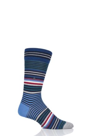 Mens 1 Pair Burlington Stripe Wool Socks Blue 40-46