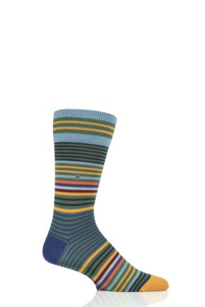 Mens 1 Pair Burlington Stripe Wool Socks